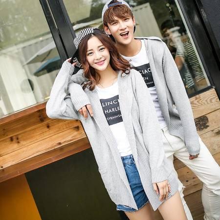 mssefn 2014韩版新款开衫情侣线衫针织衫连帽高品质情侣装毛衣M27