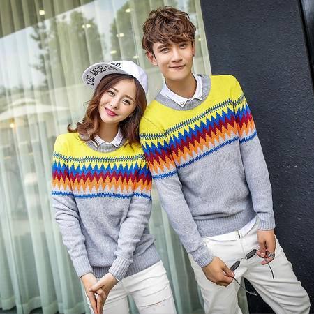 mssefn 2014韩国情侣装名族风菱形圆领拼色韩版毛衣针织衫班服 M21