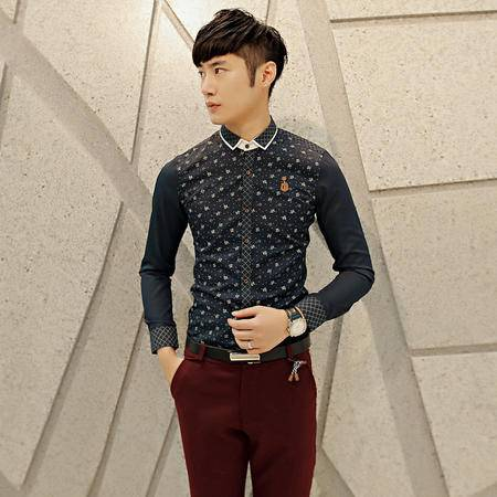 mssefn2014秋款新款韩版简洁百搭长袖衬衫 男士2033 C61