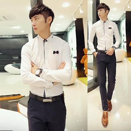 mssefn2014秋冬新款韩版简洁长袖蝴蝶结装饰纯色衬衫2033 C610