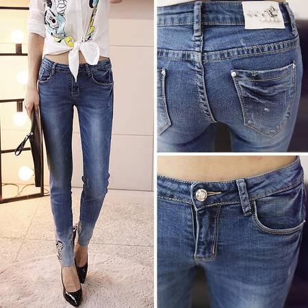 mssefn2014新款韩版带钻女式牛仔长裤 A007G04