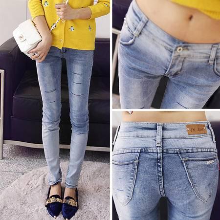 mssefn2014秋装新款时尚修身个性破洞女式牛仔长裤 牛仔裤A007G05