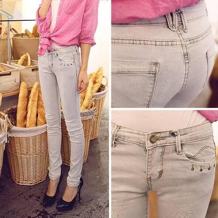 mssefn2014秋冬新款时尚修身提臀浅色牛仔长裤A007G02