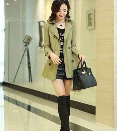 mssefn2014秋冬韩版新款修身休闲时尚长款双排扣风衣外套 YXBL6603P120