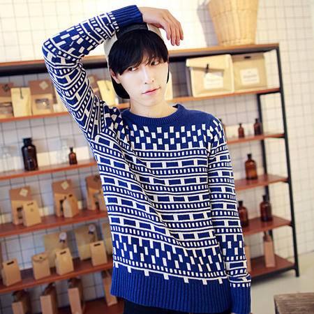 mssefn2014年秋冬新款韩版几何图案格子撞色毛衣 男士2033 M29