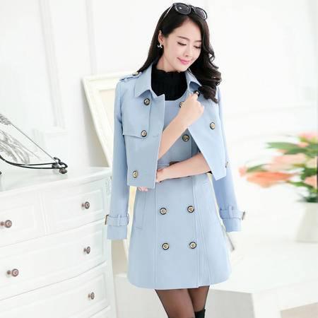 mssefn秋季女装新款韩版双排扣两件套中长款风衣外套YASG1936