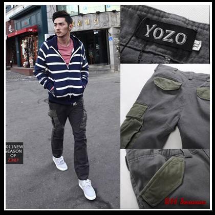 mssefn秋冬新款韩版爆卖男式独特斜式大口袋工装裤式修身休闲长裤211704P45