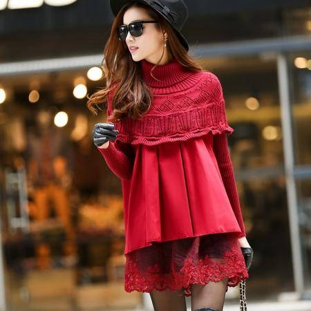 mssefn2014秋季新款韩版女高领套头毛线针织斗篷宽松加厚打底衫y03