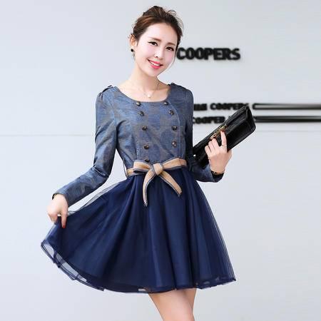 Mssefn2014秋冬季新款韩版女装时尚圆领百褶修身连衣裙配腰带y01