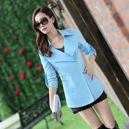 mssefn2014秋季新款韩版女装短款罗马针织西服外套风衣y01