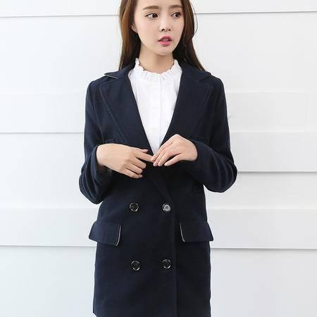 Mssefn 2014秋冬装新款 韩版女装西装领毛呢中长款外套 8618-N03