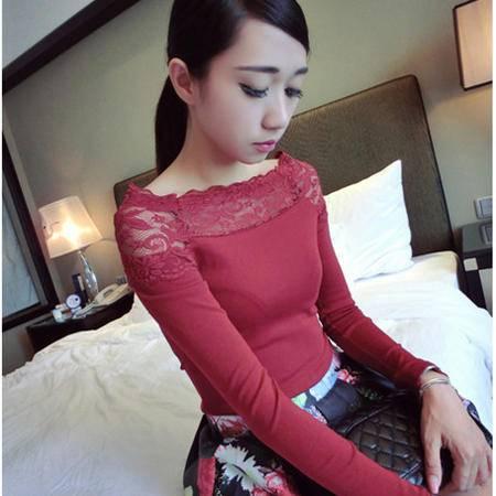 Mssefn 2014秋冬新款 女装修身显瘦长袖蕾丝拼接打底衫性感一字领T恤8518-T244
