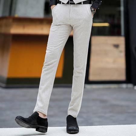 Mssefn 2014秋冬新款 修身 纯色灰色 男士长裤803K123