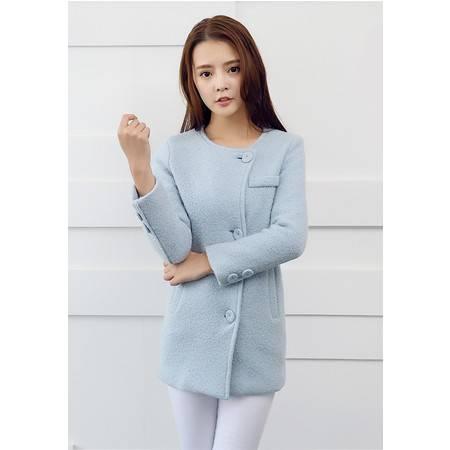 Mssefn  2014秋冬新款 韩版女装蓝色圆领羊毛呢外套 8618-N01