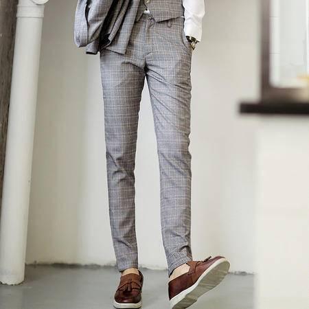 Mssefn 2014秋冬新款 英伦风 格子 西裤男士长裤803K117