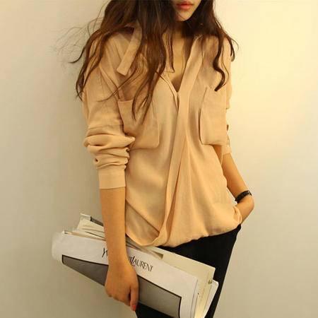 Mssefn 2014秋冬新款  女装大口袋套头衬衫 Y055