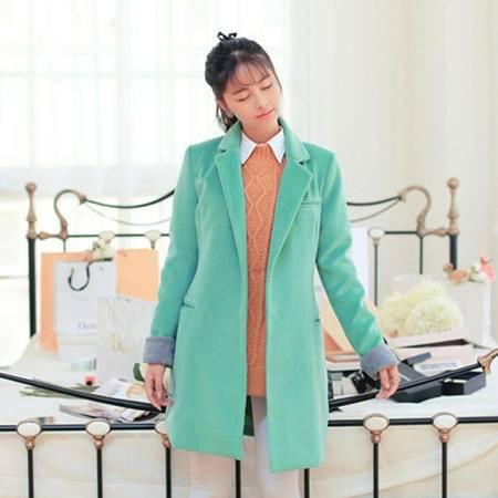 Mssefn 2014秋冬新款 女装羊绒拼色呢中长款大衣8511-X5