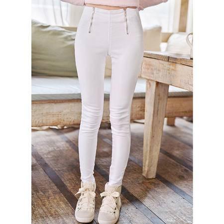 Mssefn 2014秋冬新款 双拉链白色显瘦裤子8511-K01