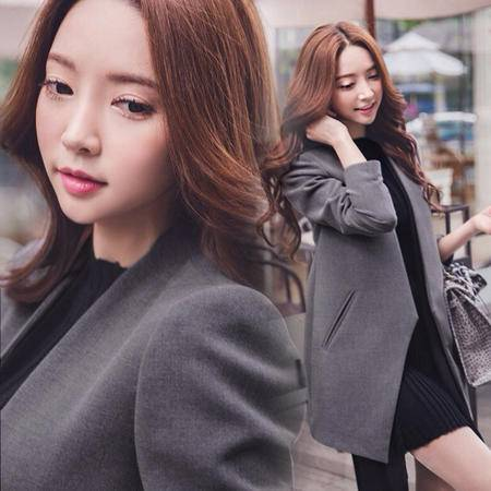 Mssefn 2014秋冬新款 韩版女装休闲百搭灰色小西装H896