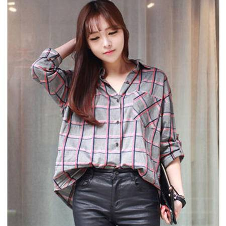 Mssefn 2014秋冬新款 女装格子衬衫 可挽袖8511-C05