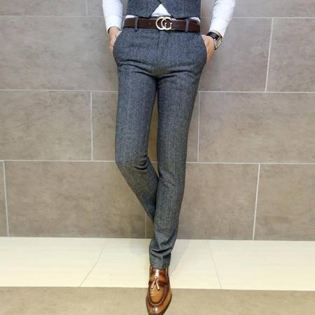 Mssefn 2014秋冬新款 韩版英伦 绅士气质复古人字斜羊毛呢西裤 男士休闲西裤 T98