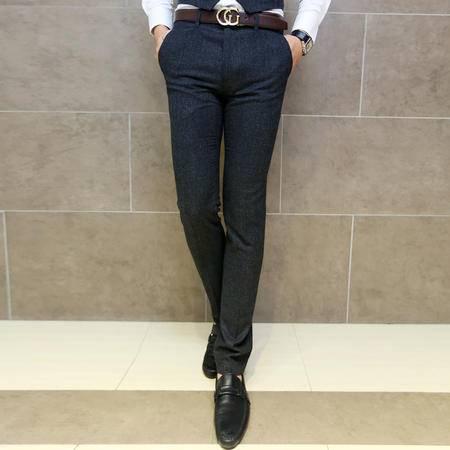 Mssefn 2014秋冬新款 韩版英伦复古 格子羊毛材质 御寒修身男士西裤 休闲小脚裤T57