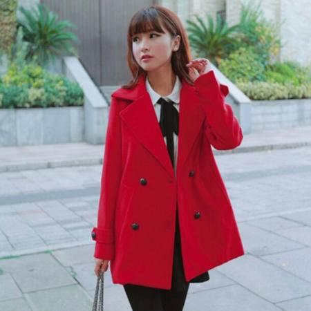 Mssefn 2014秋冬新款 韩版呢料大衣双排扣毛呢外套女8402-W15