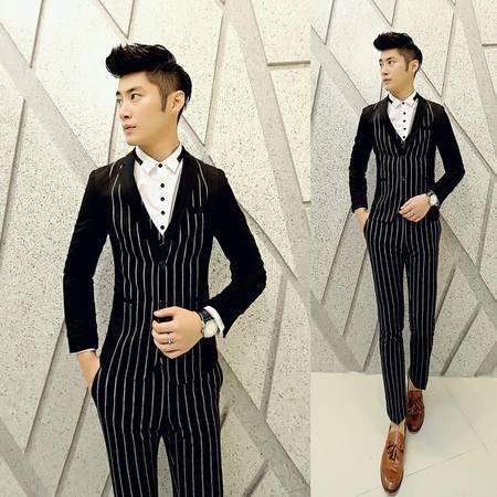 Mssefn 2014秋冬新款 男士修身韩版条纹呢料西装套装新郎套装T589