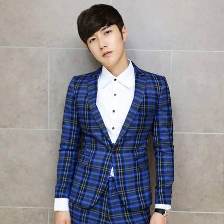 Mssefn 2014秋冬新款 韩版修身设计经典色织格子套装西服  K10
