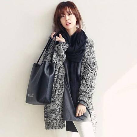 Mssefn 2014秋冬新款 个性混合色时尚粗针织开衫毛衫8406-Z008