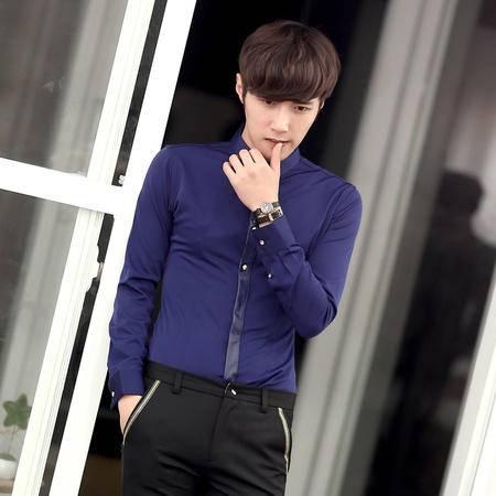 Mssefn 2014秋冬新款 个性小领皮质门襟设计衬衫 英伦韩版修身男士长袖衬衫 C247