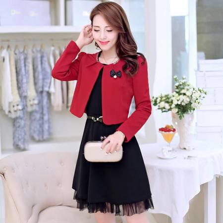 Mssefn 2014秋冬新款 时尚韩版蕾丝下摆收腰两件套连衣裙小外套KM442