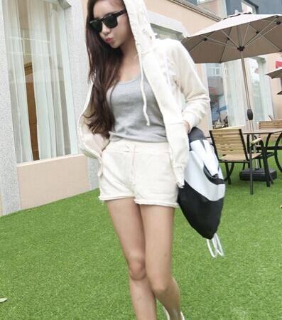 Mssefn 2014秋冬新款 韩版休闲时尚白色连帽卫衣套装女8410-B33