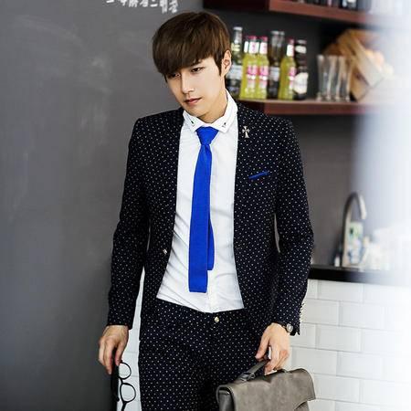 Mssefn 2014秋冬新款 韩版修身点点超好面料男士小西装潮男西服(有套装)X141