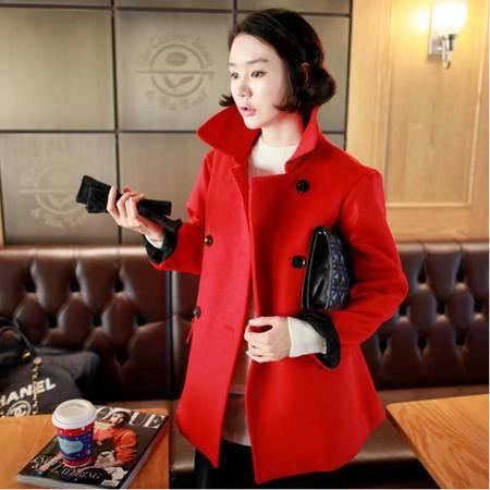 Mssefn 2014秋冬新款 女装韩版大红毛呢大衣 8408/F099