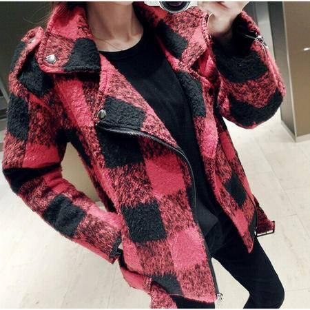 Mssefn 2014秋冬新款 双色格子夹克呢子大衣8415-WT053