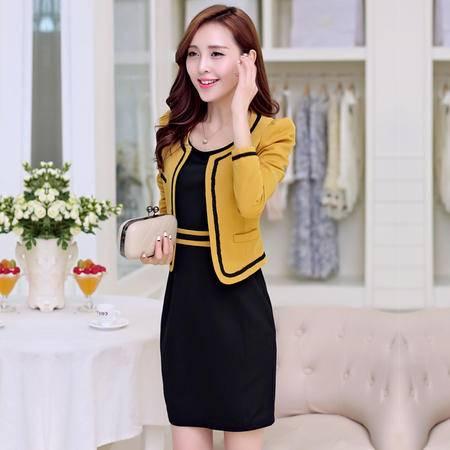 Mssefn 2014新秋装聚酯纤维圆领束腰针织连衣裙小外套两件套装KM434