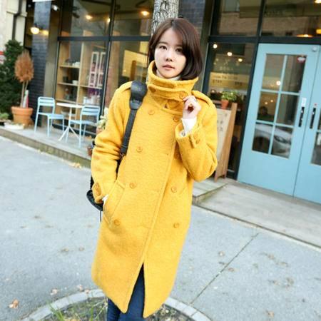 Mssefn 2014秋冬新款 女装时尚修身纯色羊毛呢大衣8411- W09