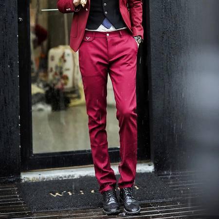 Mssefn 2014秋冬新款 韩版修身男士纯色休闲裤 小鹿装饰男士直筒长裤K140