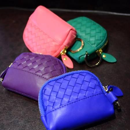 Mssefn 2014最新款 小巧钥匙包 糖果色迷你包包时尚百搭编织多色零钱包1203