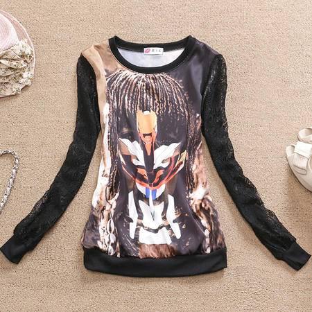 Mssefn 2014秋冬新款 女装打底衫 韩版修身蕾丝打底衫B1185