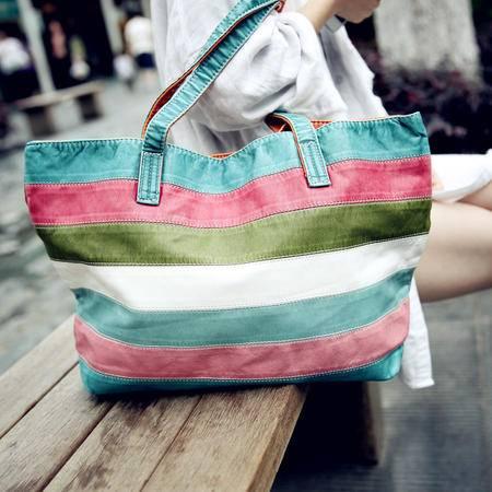 Mssefn 2014最新款 水洗皮复古彩虹包彩条包彩色条纹包包 201388