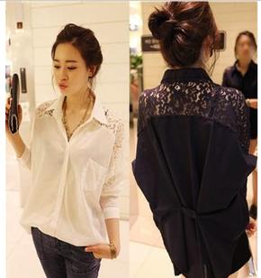 Mssefn 2014秋冬新款 女装韩版蕾丝拼接衬衣8420K21