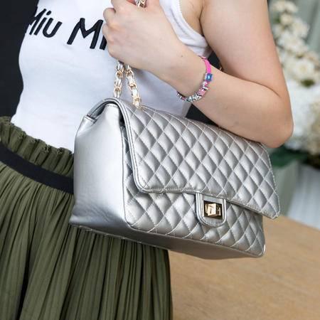 Mssefn 2014最新款 小香风菱格链条包欧美时尚单肩包银色斜跨女包包A025