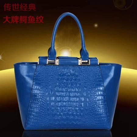 Mssefn 2014最新款 手提包包潮欧美大牌时尚鳄鱼纹笑脸女包简约7008