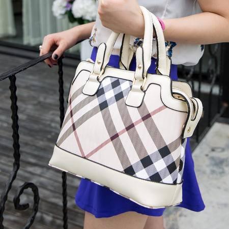 Mssefn 最新款 女包黑白格子格纹手提包欧美时尚单肩斜跨包复古潮A025