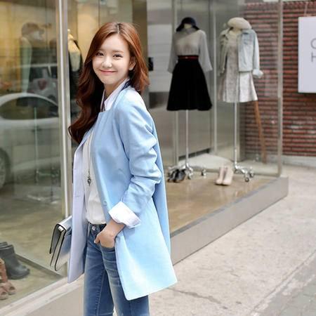 Mssefn 2014秋冬新款 韩版女装纯色中长款小西服802#