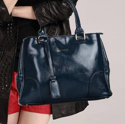 Mssefn 204最新款 女包中包新款牛皮欧美油蜡皮女士包包单肩包潮7128