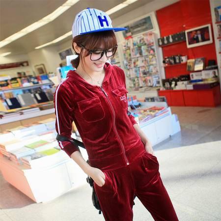 Mssefn 2014秋冬新款 韩版休闲修身长袖运动套装连帽卫衣时尚大码TB076