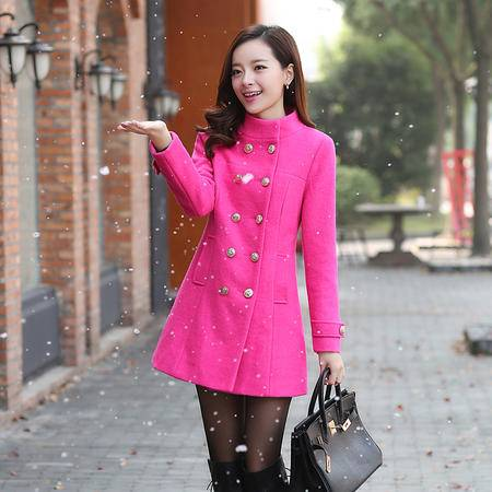 Mssefn 2014秋冬新款 韩版女装中长款毛呢外套修身立领妮子大衣YXBL8821